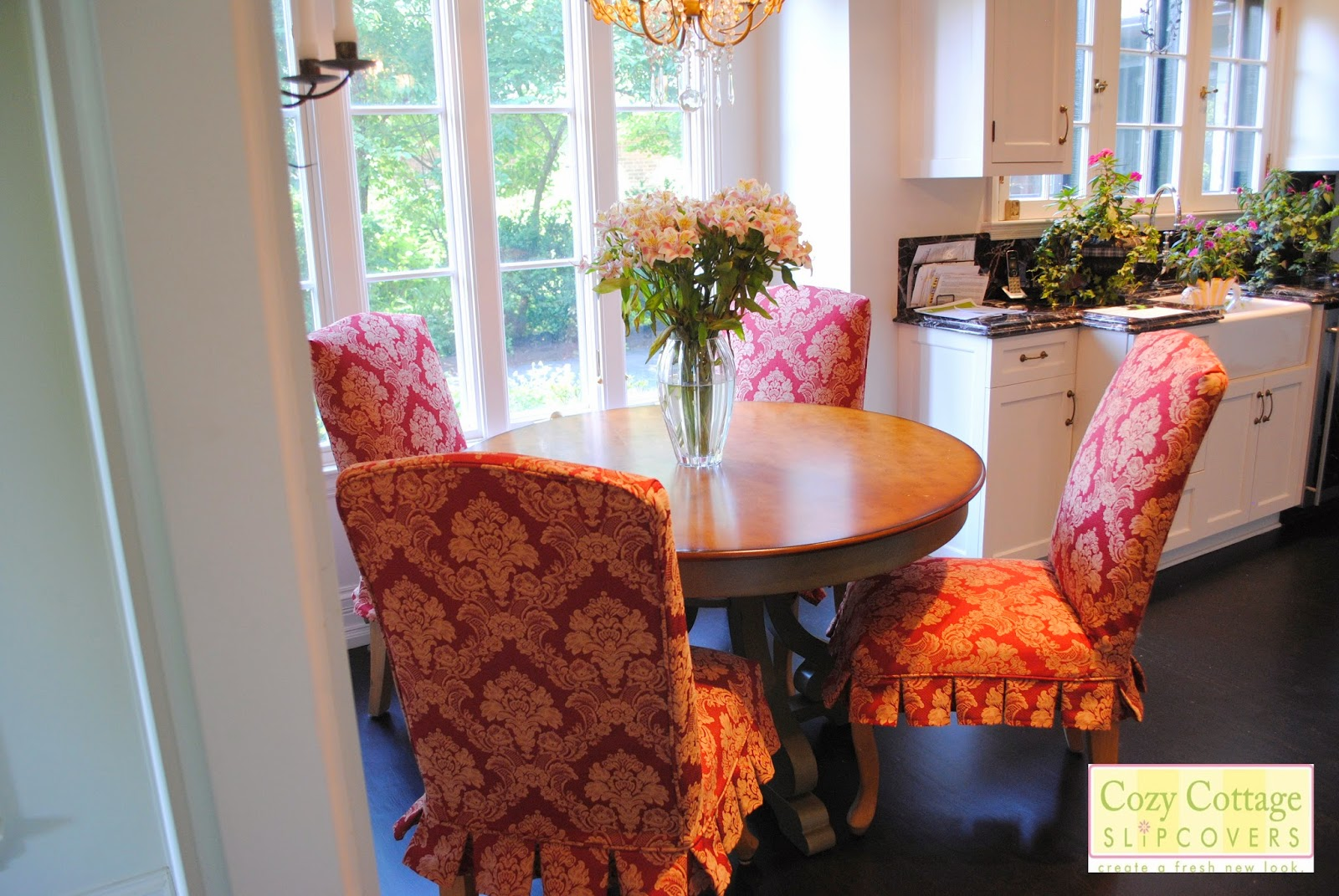 Cozy cottage slipcovers new office chair slipcovers - Here Is A Picture With All The New Slipcovers Around The Table Posted By Cozy Cottage