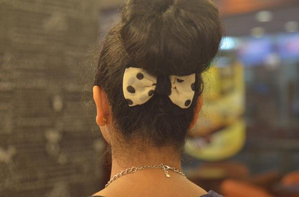 High Donut Bun with Bow Clip India