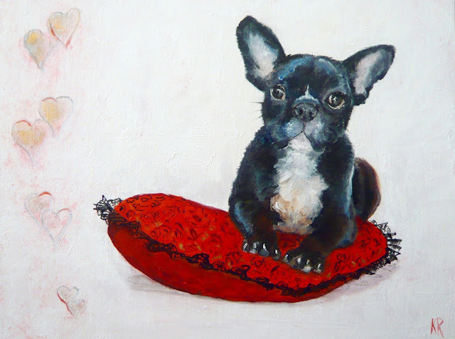 French bulldog seated on a heart cushion, Valentine's Day painting