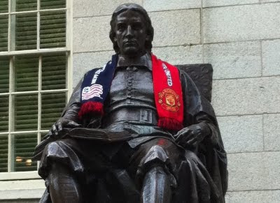 Manchester United and John Harvard statue