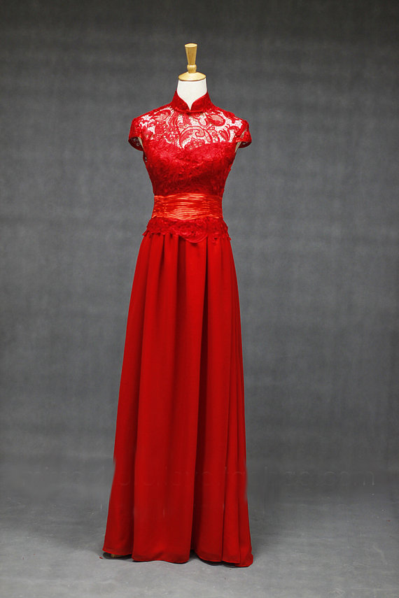 Wedding fusion bridal gown dress in lace supreme high quality red