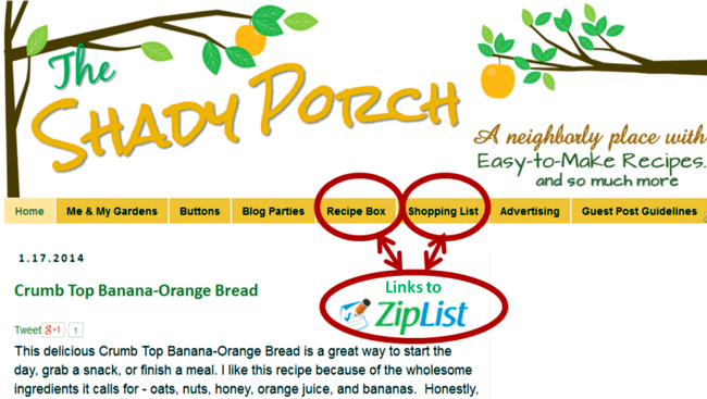 Access links to ZipList Recipe box and ZipList Shopping List