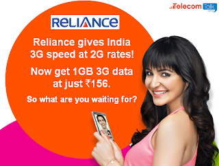 Reliance GSM Hikes 3G Internet Rates-400MB at Rs.123 and 1GB 3G Data Pack for Rs.156