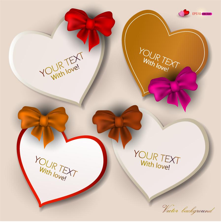 リボン飾りのバレンタインデー ハート型ラベル Heart exquisite valentine labels イラスト素材