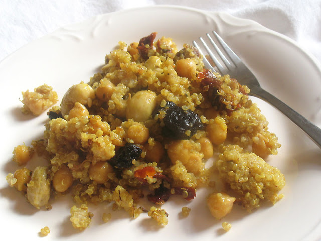 Quinoa and Chickpea Salad with Sun-Dried Tomatoes and Dried Cherries
