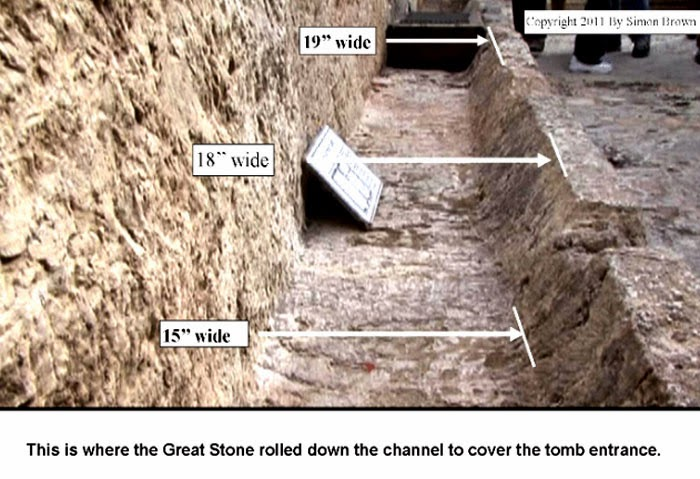This is where the Great Stone rolled down the channel to cover the tomb entrance