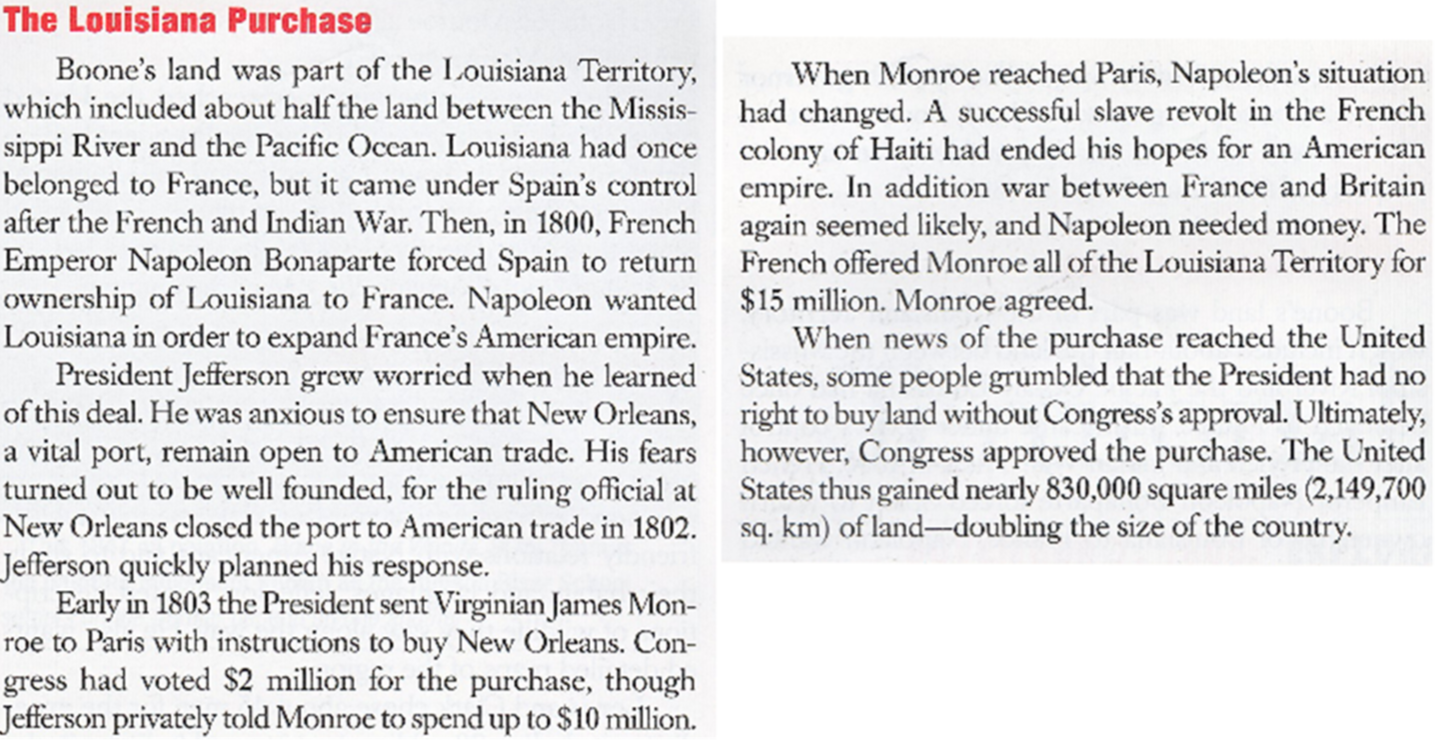 American History Somerset High School November 1721 2014 – Louisiana Purchase Worksheet