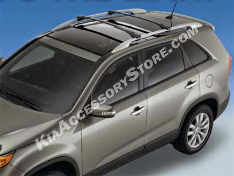 More Details - 2011-2015 Kia Sorento Cross Bars  $315.00 On Sale!  As Families continue downsize their cars, roof mounted bike racks are becoming more and more popular. Another reason why the roof is becoming a great option is because we live in a multi-sport society and it is not uncommon to use your trailer hitch for pulling your ski boat or travel trailer while your bikes ride the top of your vehicle.  Factory installed roof rack is required. Comes with detailed instructions and all necessary hardware. Kia Roof Rack Options   1000 Main Street Holyoke MA, 01040