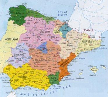 Carte Espagne Ville Région politiques