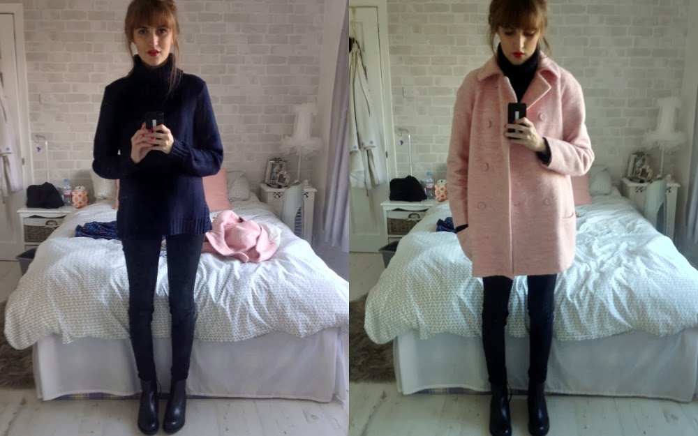 Zara Pink Coat, H&M Navy Roll Neck, Uniqlo Ultra Stretch Jeans, ASOS ALFASA Boots