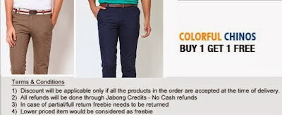 Buy 1 Get1 Free Offer on Branded Chinos @ Jabong (Arrow | Peter England | Flying Machine | Allen Solly | Van Heusen | Raymond | French Connection & more)