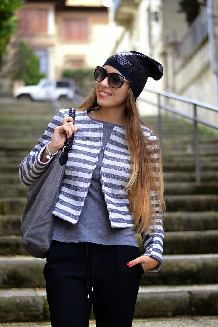 giacca righe bianco grigio