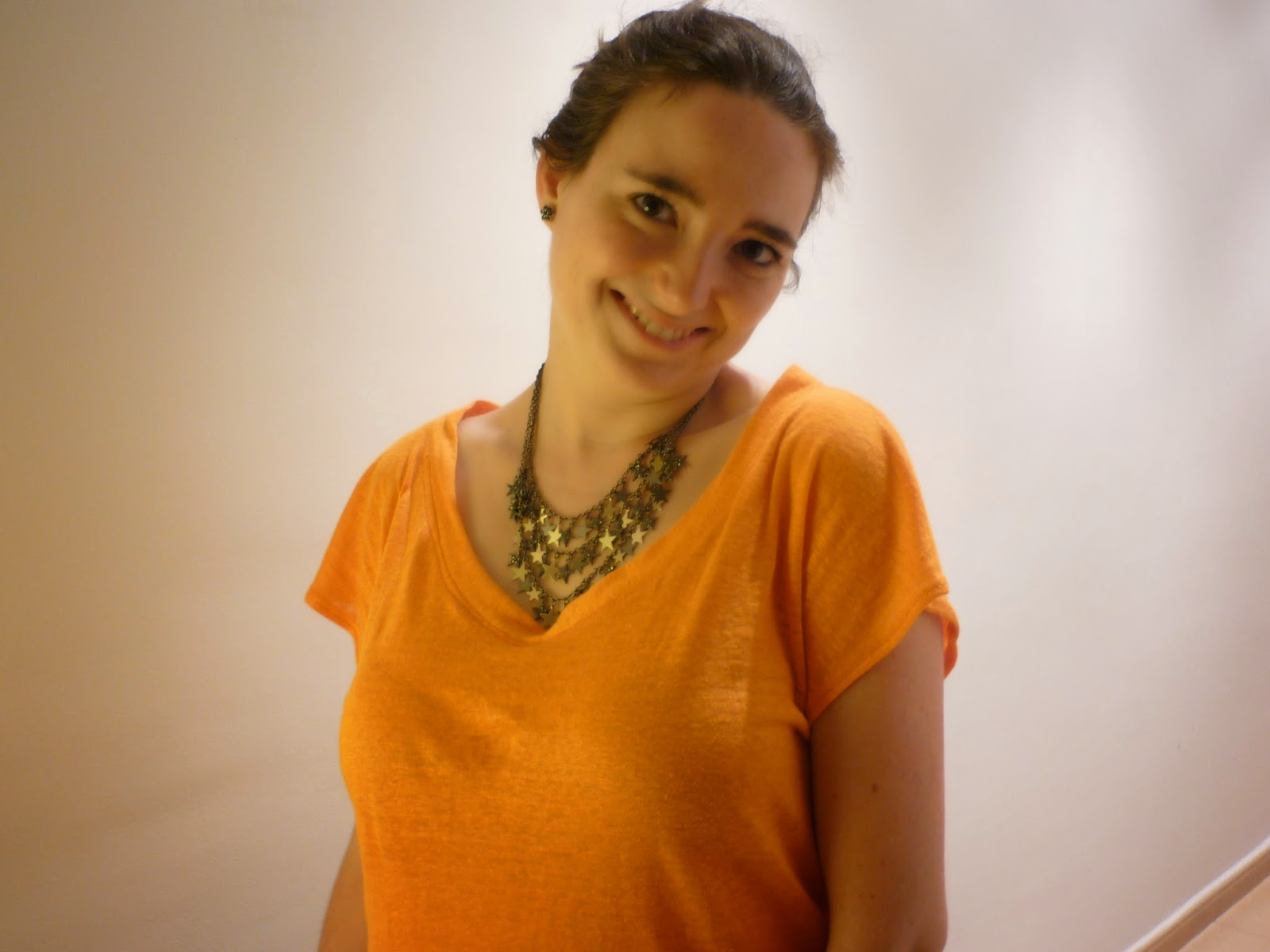 modistilla de pacotilla camiseta punto lino naranja kirsten kimono tshirt