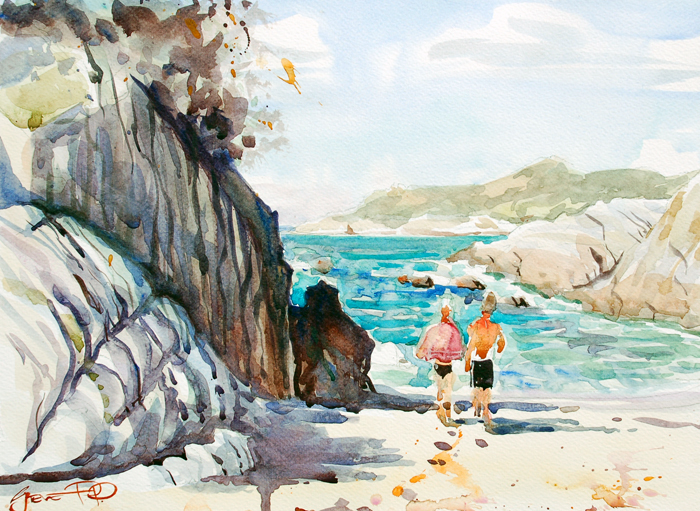 """""""Mid-afternoon dip, Barricane Beach"""" - Win a free framed one off print of this watercolour painting!"""