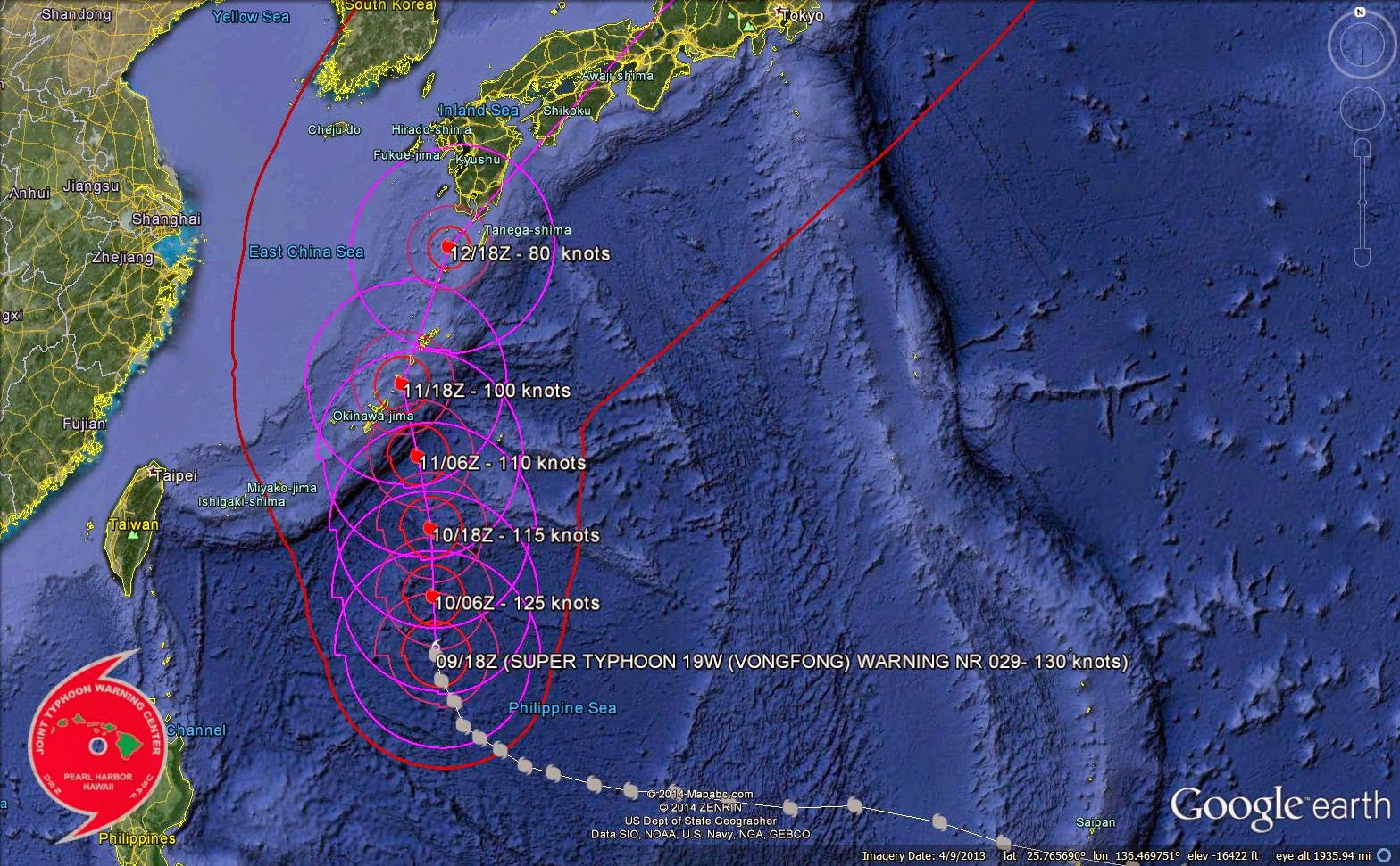 current and projected track of super typhoon vongfong