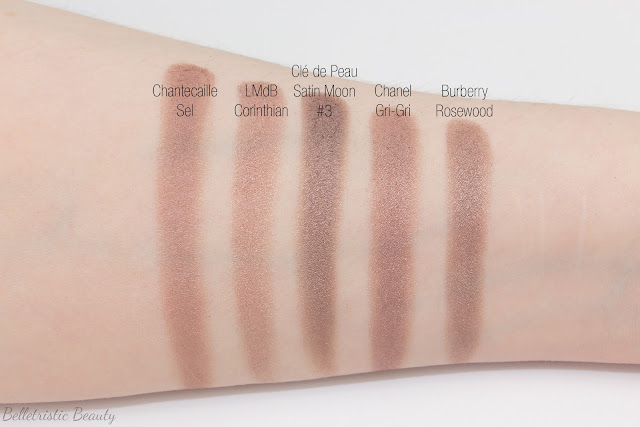 Clé de Peau Beauté CdP Satin Moon 305 comparison swatches for Shade #3 Eye Color Quad Refill Case Celestial Radiance Fall 2014 in studio lighting with forced flash
