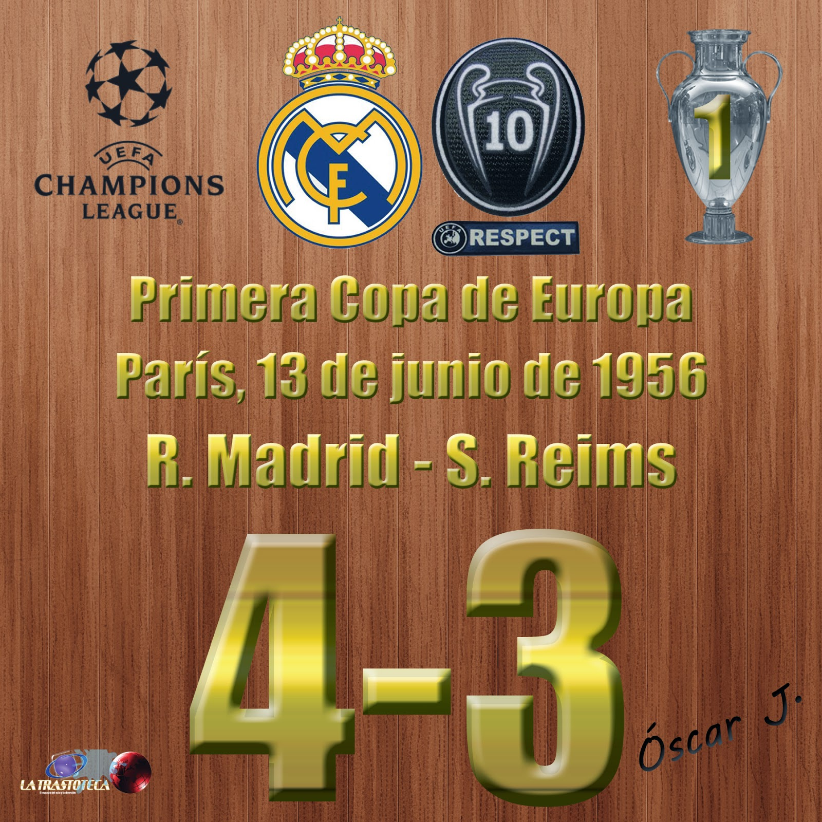 Real Madrid 4-3 Stade de Reims. Primera Copa de Europa del Real Madrid.