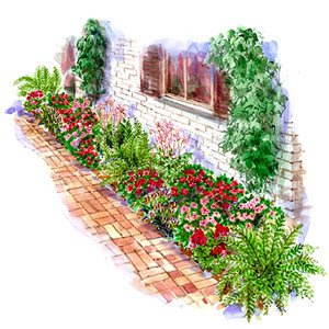 Dress my shade spring landscape ideas for Foundation garden designs