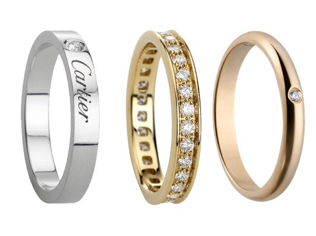 Alianzas en platino, oro amarillo y oro rosa con brillantes.