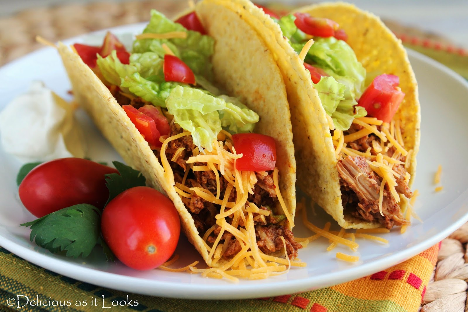 Crock Pot Chicken Tacos  /  Delicious as it Looks