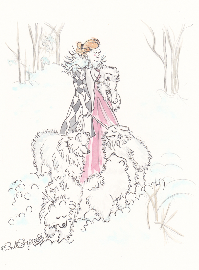 Harlequin and the Snow Queens illustration, Shell Sherree, fashion illustration, dog illustration