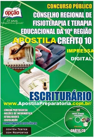 Apostila Crefito10 - Impressa Escriturário - Concurso SC 2014