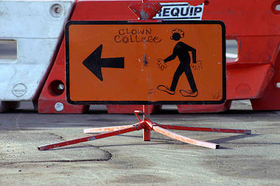 walk this way sign amended to say clown college this way