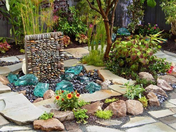 Ландшафтный дизайн с применением светящихся камней