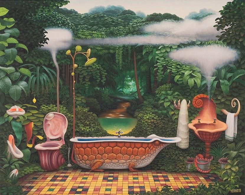 14-Pocket-jungle-Bathroom-Jacek-Yerka-Surreal-Paintings-Parallel-Universes-www-designstack-co