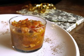 Salmone confit in composta di arance e cipolle rosse di Tropea