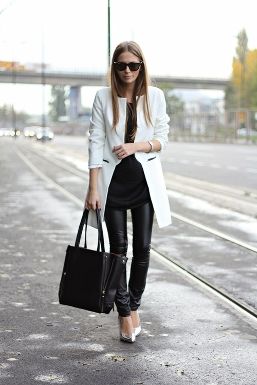 Black leather pants white jacket Celine bag Silver shoes