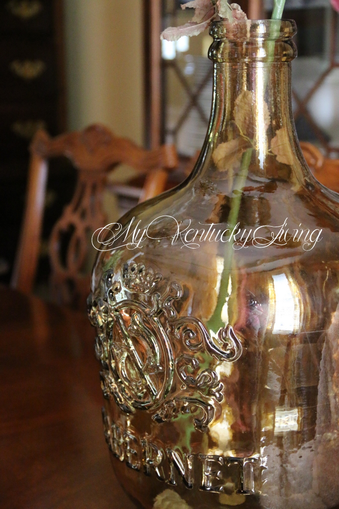large amber glass jar