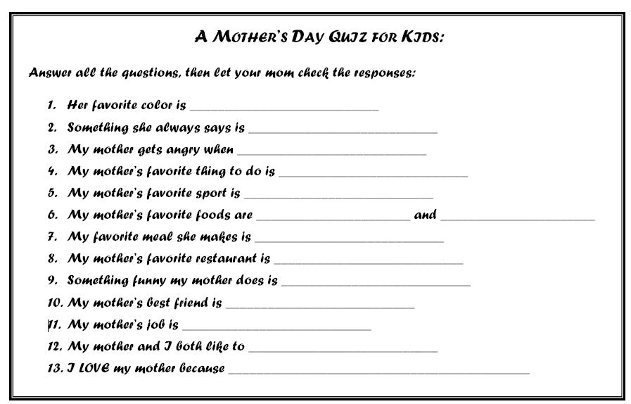mothers day quiz actual coupons
