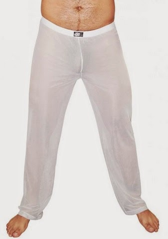 GBGB Wear Mens Underwear Sheer Loung Pants White