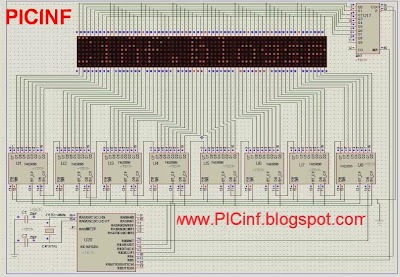 LED moving message diaply using PIC16f628 CD4017 and  74LS595