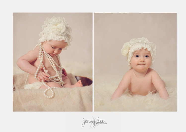 A girl in pearls for her studio pictures
