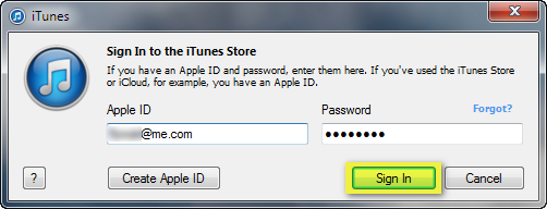 itunes log in window