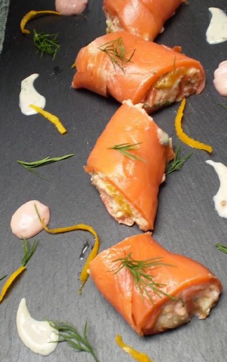 Rouleau de saumon au fromage blanc à l'orange