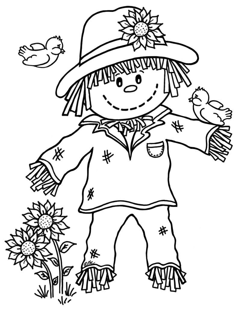 Little scarecrow freebie 15 for Coloring pages scarecrow