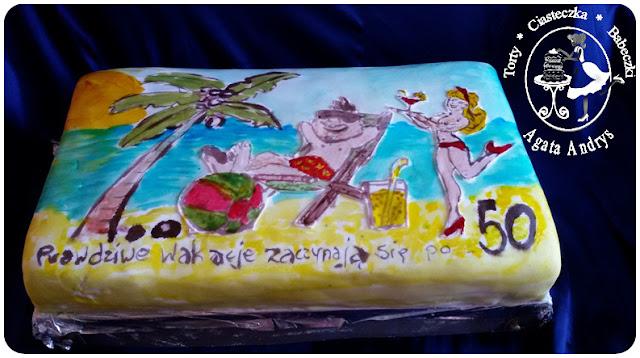 Tort Wakacyjny Ręcznie Malowany Na 50 Urodziny Dla Faceta
