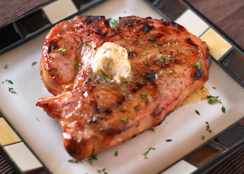grilled pork chops with cajun compound butter