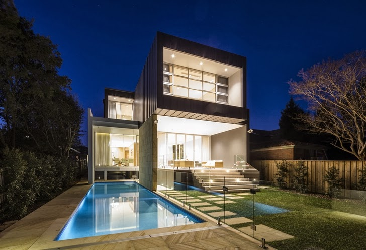 Beautiful Box House by Zouk Architects at night