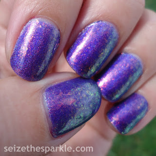 Purple Rainbow Sparkly Nails