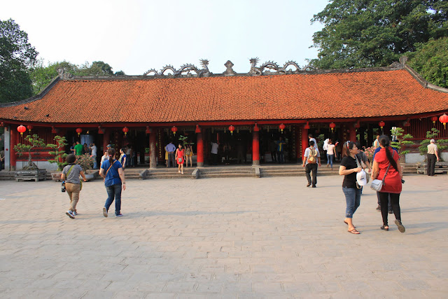 A closer look of temple ceremony at Temple of Literature in Hanoi, Vietnam