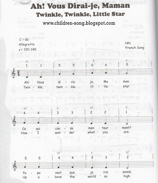 Twinkle Twinkle Little Star Notes Song