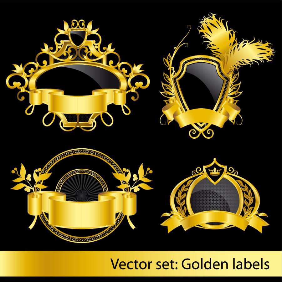 エレガントな黄金のラベル elegant pattern vector golden labels イラスト素材