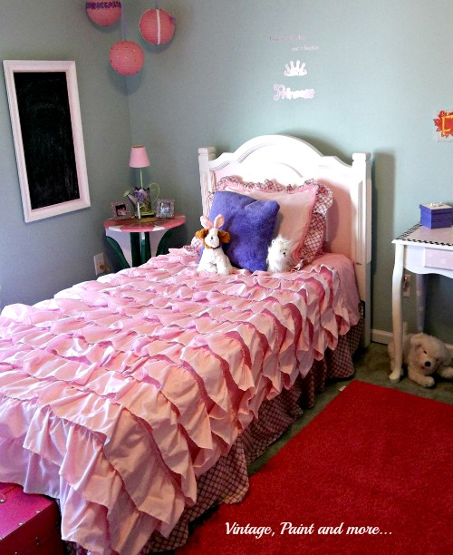 Vintage, Paint and more.. a pink ruffly girly girl room with diy chalk painted furniture and thrifted accessories
