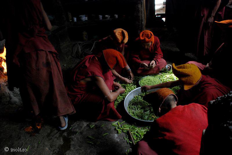 Tibetan Buddhist Monks Working In The Kitchen