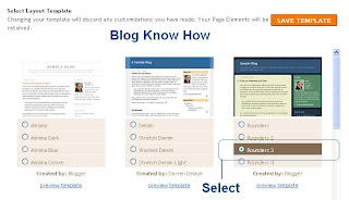 Select default Blogger template from the menu