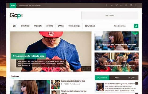 Share Gaps Responsive Template Blogspot tin tức đẹp